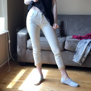 White cropped pleather pants